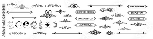 Vintage set decor elements. Decoration for logo Wallpaper Mural