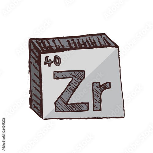 Fotografia, Obraz Vector three-dimensional hand drawn chemical gray silver symbol of zirconium with an abbreviation Zr from the periodic table of the elements isolated on a white background