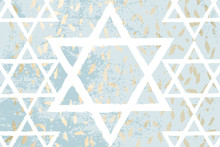 Blue Gold Marble Grunge Marble Chic Background With Hand Drawn White David Star Symbol