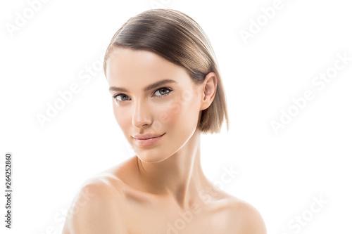 Fototapeta Clean skin woman natural makeup beauty healthyskin isolated on white obraz