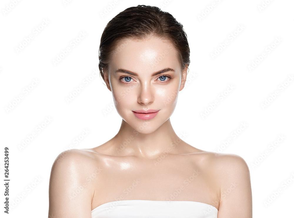Fototapeta Beauty face healthy skin woman isolated on white