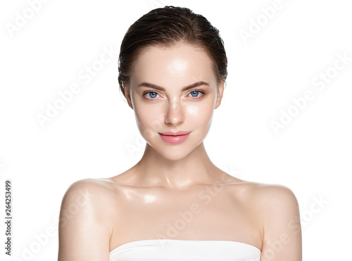 Stampa su Tela Beauty face healthy skin woman isolated on white