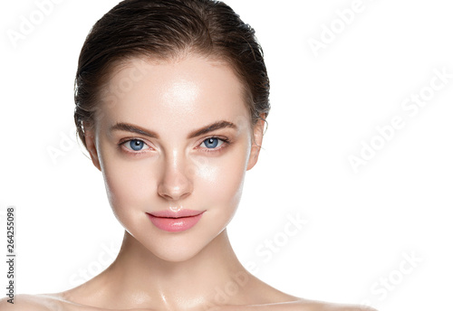 Obraz na plátně  Beauty skin care woman natural makeup female model closeup