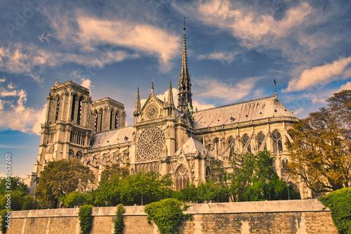 Fotografia  Full view of Notre Dame of Paris (France)