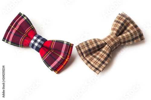 Fotomural Brown checkered bow tie on a white background