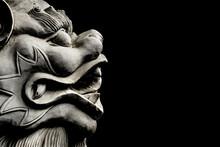Chinese Art Lion Sculpture Background