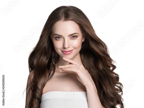 Beautiful brunette hair woman long healthy hairstyle model