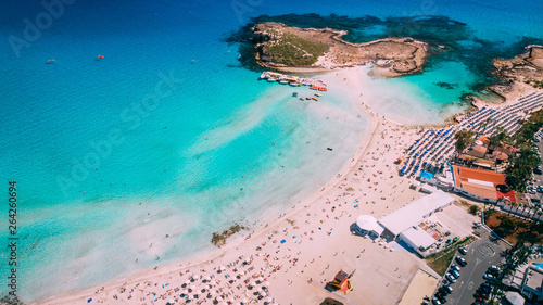 Aerial view of beautiful Nissi beach in Ayia Napa