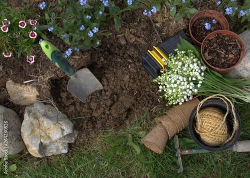 Cuadros en Lienzo plantation printanière et bouquet de muguet