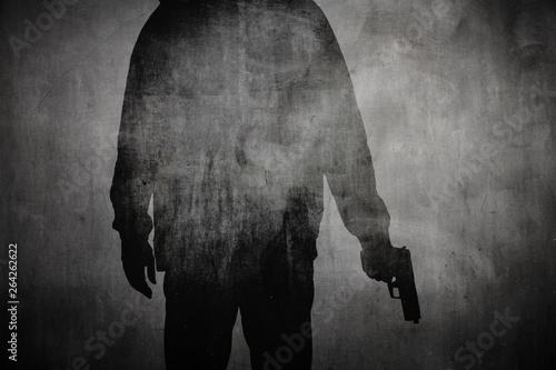 canvas print motiv - OFC Pictures : Silhouette von einem Mann mit Pistole