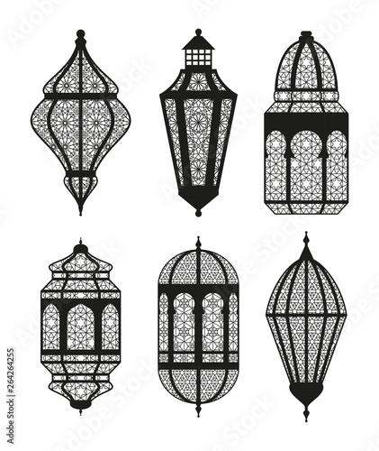 Arabic or Islamic lanterns set. Black collection Wallpaper Mural