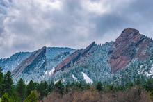 Spring Snowy Hike At Flatirons In Boulder, Colorado