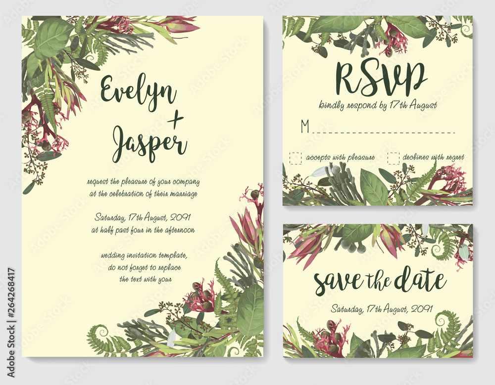 Set Of Vector Wedding Invitation Greeting Card Save Date