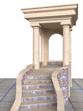 Classic  Stone Portico With Columns And Stairs  -  Illustration 3D Rendering