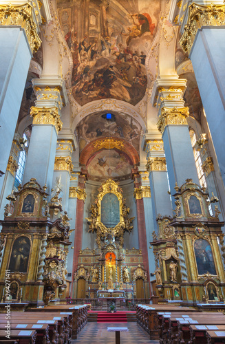 PRAGUE, CZECH REPUBLIC - OCTOBER 14, 2018: The nave of the baroque church of St. Egidius (Jiljí).