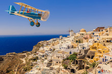 Child Girl Pilot Aviator In Airplane Flying Over Greece In Summer At Sunset. The Travel By Air Concept.