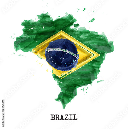 Fototapeta Brazil flag watercolor painting design