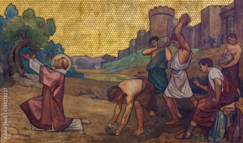 PRAGUE, CZECH REPUBLIC - OCTOBER 17, 2018: The stoning of St. Stephen freso in the church kostel Svatého Cyrila Metodeje by S. G. Rudl (1896).