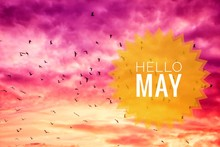 Banner Hello May. Hello May Text On Sky Background. Text Against The Sky
