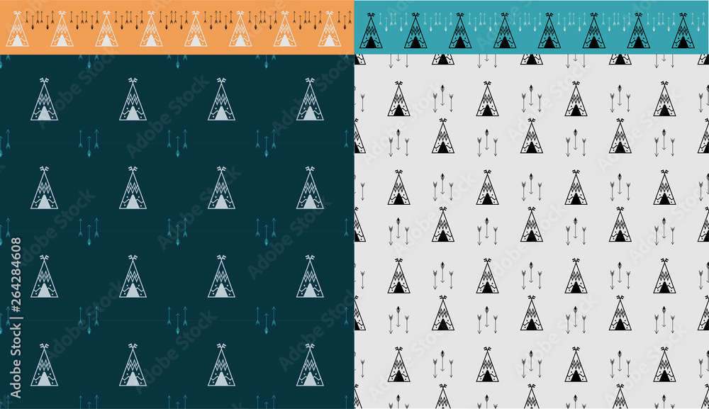 Two tile with wigwam and arrow seamless pattern. And brush tepee. grafic for print poster, wall art, web backdrop, design invation party. Vector illustration in Scandinavian style.