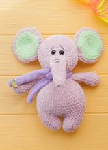 Big Soft Crocheted Pink Elephant
