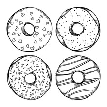 Hand Drawn Vector Illustration - Set Of Tasty Donuts. Sketch. Sweet Desserts. Perfect For Leaflets, Cards, Posters, Prints, Menu, Booklets