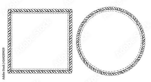 Fotografía  Simple doodle frames set, marine style