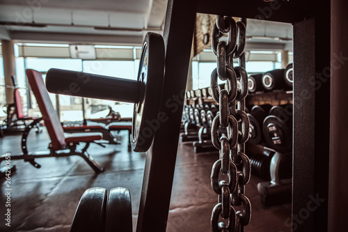 Fotografia  Photo of sport equipment in trendy sunny gym.