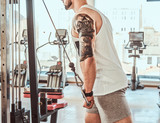 Strong powerful man is doing exercises for arms with training apparatus in gym.