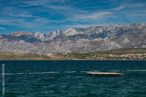 Velebit moutains and Adriatic Sea from Novigrad, Dalmatia, Croatia