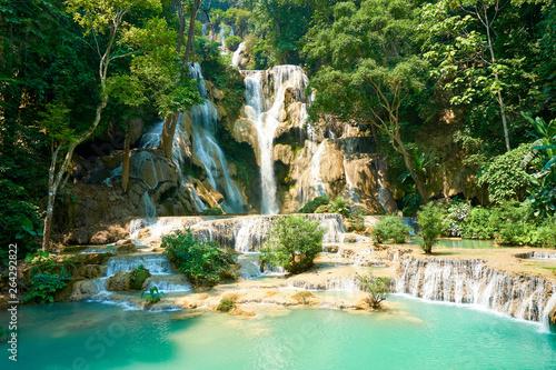 Recess Fitting Waterfalls Kuang si Waterfall in Luang Prabang. Laos. 2019 Landscape
