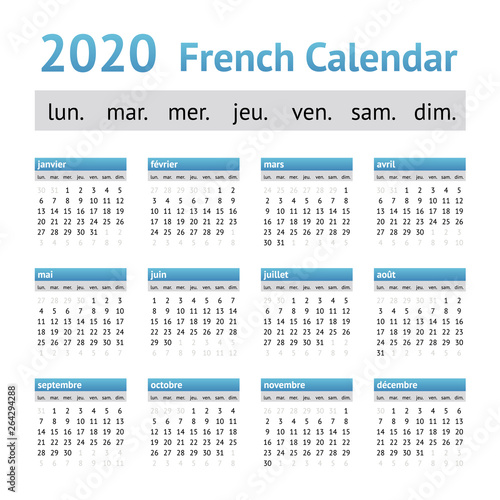 France Portugal Euro 2020 Calendrier.2020 French European Calendar Week Starts On Monday Buy