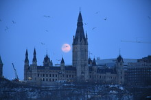 Moon Rise Parliament Of Canada
