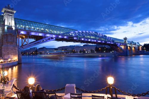 Foto auf AluDibond Stadt am Wasser Moscow Night urban landscape with old St. Andrew's Bridge