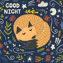 Good Night Card With A Cute Sleeping Fox. Vector Illustration
