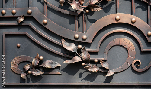 Photographie Wrought-Iron Gates, Ornamental Forging, Forged Elements Close-Up
