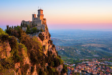 Guaita Tower Fortress On Sunrise, San Marino