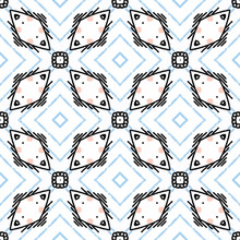 Geometric Quilt Tile Shape Seamless Pattern. All Over Print Vector Background. Abstract Windmill Block Quilted Home Decor. Trendy Graphic Scrapbooking Paper, Wallpaper, Retro Vintage All Over Print.