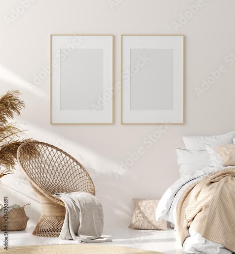 Fotografie, Obraz  Mock up frame in bedroom interior, beige room with natural wooden furniture, Sca
