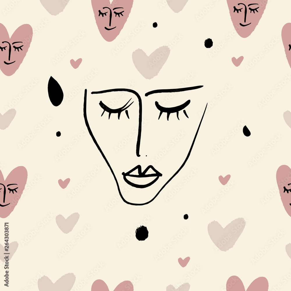 Simple hand drawn trendy line portrait art. Seamless pattern. Print for clothes, textile and other. Vector
