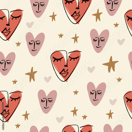 simple-hand-drawn-trendy-line-portrait-art-seamless-pattern-print-for-clothes-textile-and