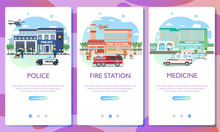 Web Page Design Templates. Emergency Services Building. City Hospital Building With Ambulance, Fire Station Building, Police Department With Officers In Uniform , Cars And City Landscape.