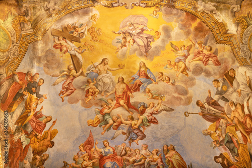 ACIREALE, ITALY - APRIL 11, 2018: The fresco Gorly of St. Sebastian in main apse of church Basilica Collegiata di San Sebastiano by Pietro Paolo Vasta (1733 - 1734).