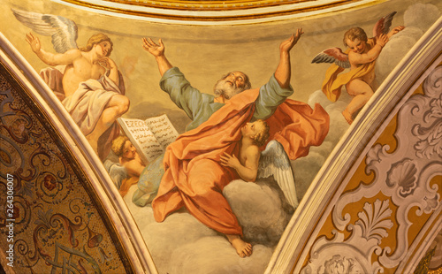 ACIREALE, ITALY - APRIL 10, 2018: The prophet Ezechiel from cupola of Basilica Collegiata di San Sebastiano by Pietro Paolo Vasta (1745).