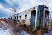 Abandoned Railroad Car In Snow