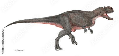 Photo 恐竜 ラジャサウルス 肉食、 全長9メートル。白亜紀後期の肉食恐竜。当時の南半球の大陸で生息したアベリサウルス類の新種とされる。この恐竜はインドで発見されたが、