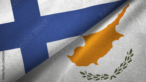 Finland and Cyprus two flags textile cloth, fabric texture Poster Mural XXL