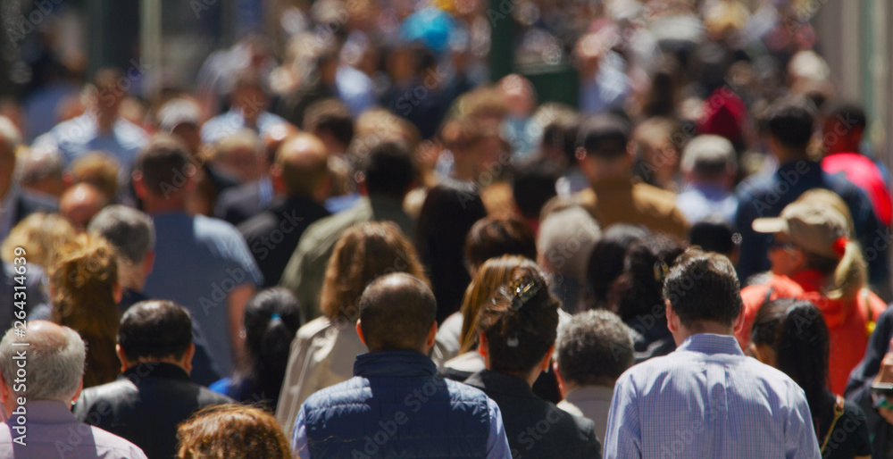 Fototapety, obrazy: Crowd of people walking busy street in New York City