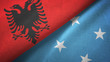 Albania and Micronesia two flags textile cloth, fabric texture