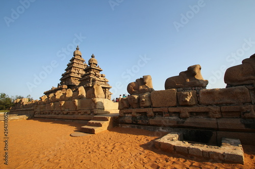 Vászonkép  Shore Temple Complex in Mahabalipuram, Kanchipuram, Tamil Nadu, India